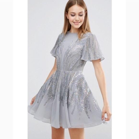 Asos Dresses Nwt Beaded Semiformal Skater Dress Poshmark